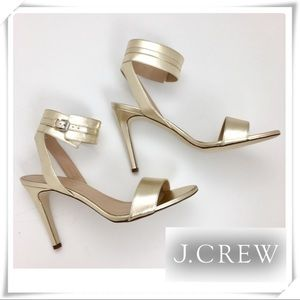 J.Crew Made in Italy Gold Ankle straps Heel